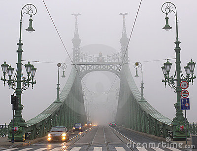 Bridge in winter mist, Budapest