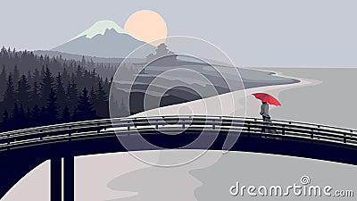 Bridge, woman with red umbrella, mountains.