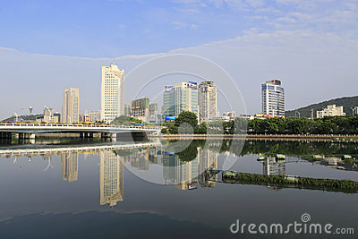 Bridge of the yuandang lake Editorial Stock Image