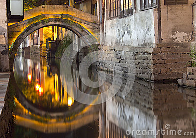 Bridge in Zhouzhuang, China at night.