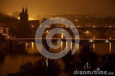 Bridges in the night, Prague