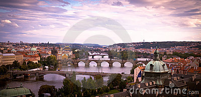 Bridges of Prague at dawn.