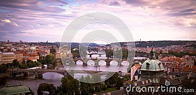 Bridges of Prague at dawn.