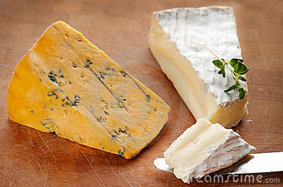 Brie and Blue Shropshire cheese