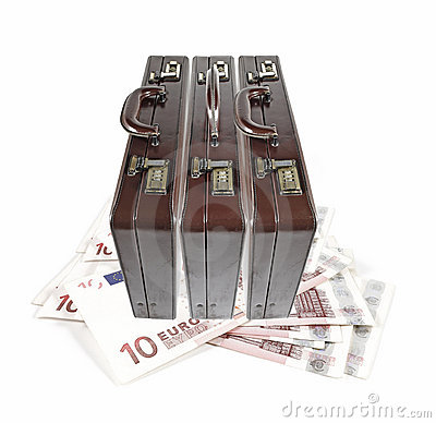 Briefcase on Euro currency.
