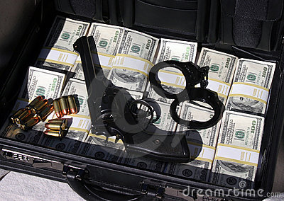 Briefcase full of cash and money