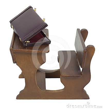 Briefcase on Wooden Desk