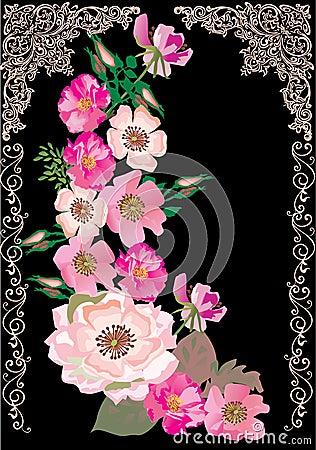 Brier flower decoration on black