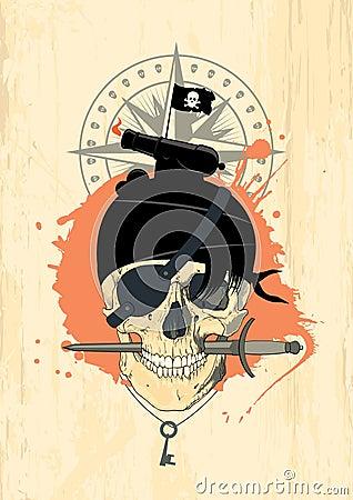 Brigandish design with ghost skull.