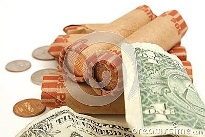 Übriges Kleingeld auf die Oberseite
