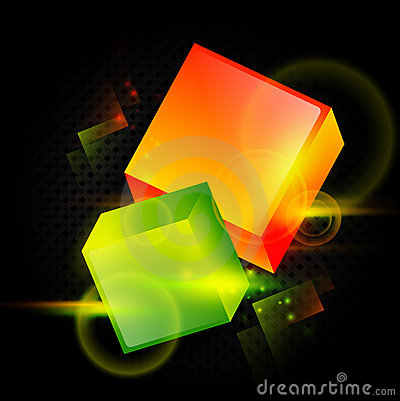 Bright abstract cubes