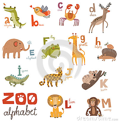 Free Bright Alphabet Set Letters With Cute Animals Stock Image - 52391231
