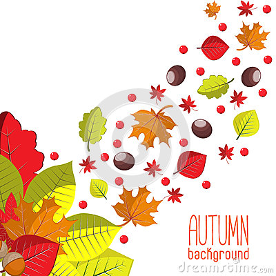 Free Bright Autumn Background For Invitation Or Ad Template With Wreath From Leaves, Seeds And Nuts. Royalty Free Stock Images - 57729219