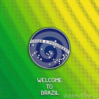 Bright background with blue disc of flag Brazil