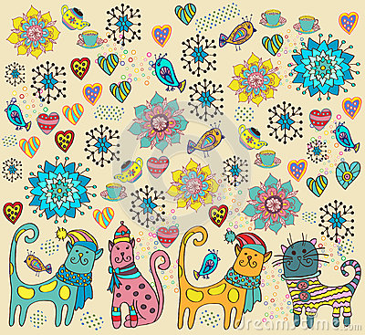 Bright background with cats, flowers and hearts
