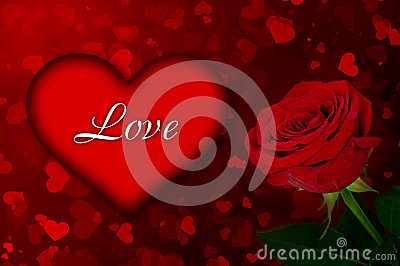 Bright background of the heart and a rose