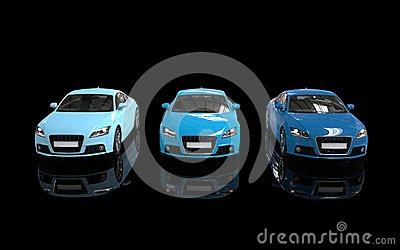 Bright Blue Cars On Black Background - Front View Stock ...
