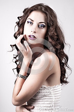 Bright blue eye make-up, beautiful woman portrait