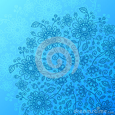 Bright blue flowers background