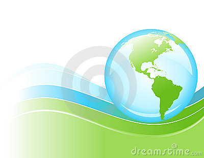 Bright Blue and Green Wave Globe of Earth