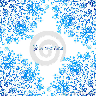 Bright blue ornate flowers vector background
