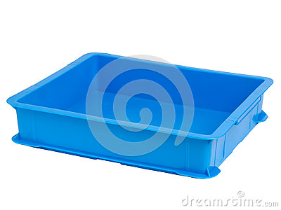 Bright blue plastic crate