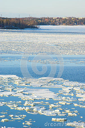 Bright blue sea and  ice drift landscape of the Baltic