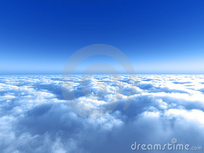 Bright blue sky above the cloud