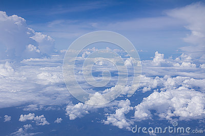 Bright blue sky above the clouds