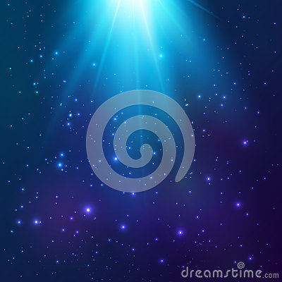 Bright blue vector cosmic light background