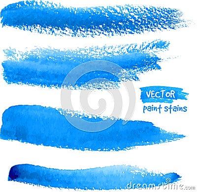 Bright blue watercolor brush vector strokes