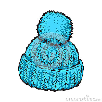 Free Bright Blue Winter Knitted Hat With Pompon Royalty Free Stock Photo - 80562935