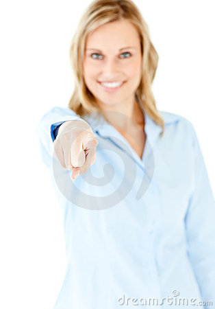Bright businesswoman pointing with her finger