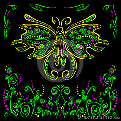 Bright butterfly with futuristic flower decor