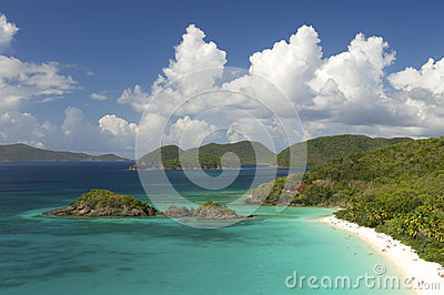 Bright Caribbean Beach Overlook Virgin Islands Horizontal