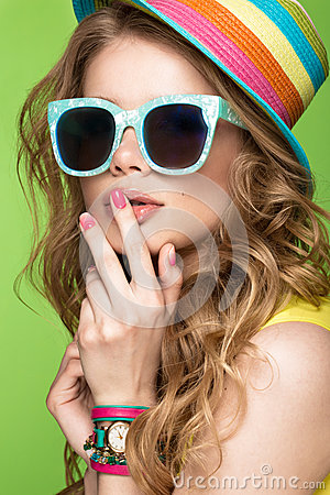 Free Bright Cheerful Girl In Summer Hat, Colorful Make-up, Curls And Pink Manicure. Beauty Face. Stock Photography - 92171842