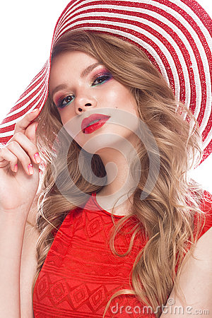 Free Bright Cheerful Girl In Summer Hat, Colorful Make-up, Curls And Pink Manicure. Beauty Face. Stock Photos - 93331353
