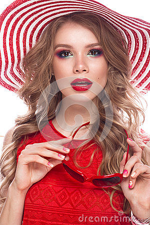 Free Bright Cheerful Girl In Summer Hat, Colorful Make-up, Curls And Pink Manicure. Beauty Face. Stock Images - 93331444