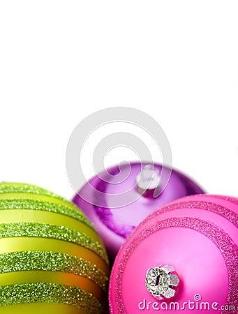 Bright christmas balls close up