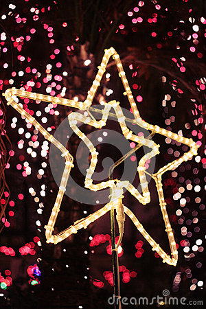 Bright Christmas Star light with bokeh background