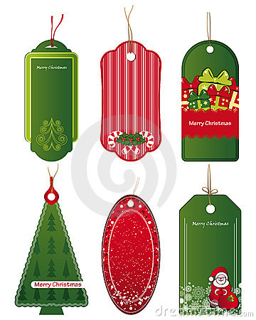 Bright Christmas tags.