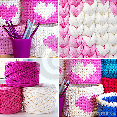 Free Bright Collage Of Crochet Boxes, Hooks, Yarn, Crochet Stitches Sample. Pink, White And Blue Crochet Textile Tutorial Pattern. Thic Stock Image - 89930661