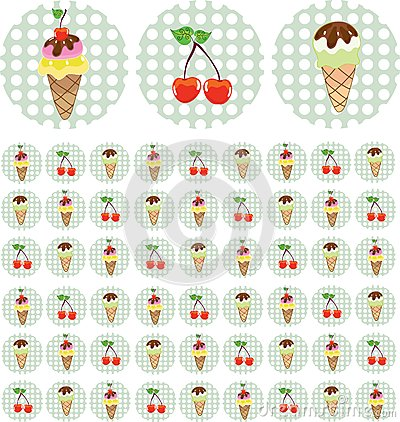 Bright color background with ice-cream and cherry