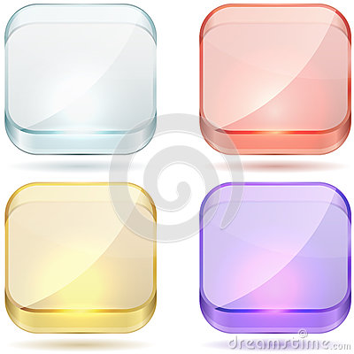 Bright color glass buttons.