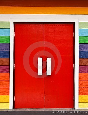 Free Bright Color Wood Door Stock Photography - 23863602
