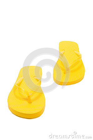 Bright Colored Flip Flops Isolated On White