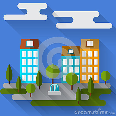 With cartoon graphic city houses with long shadows for use in design
