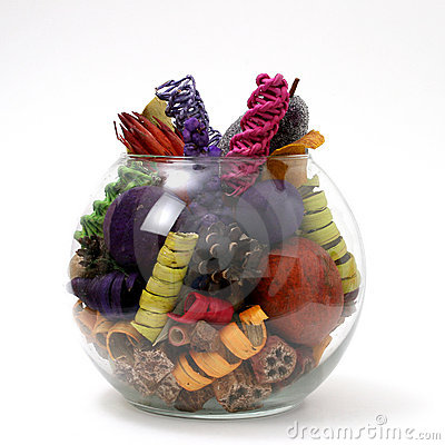 Bright Colored Potpourri In Clear Bowl