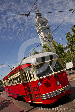 Bright Colored Trolley In San Francisco USA