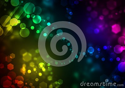 Bright colorful background with glowing bubbles and hexagons Stock Photo
